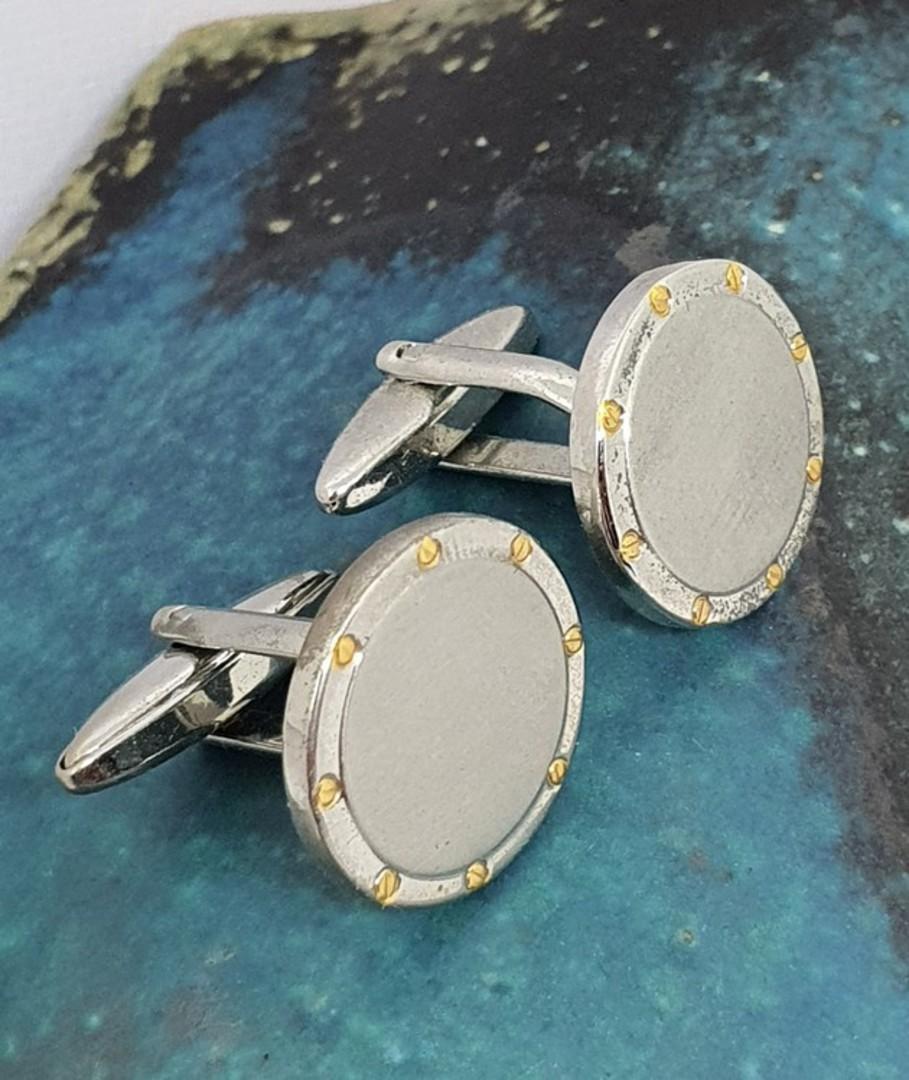 Round silver tone cufflinks with gold flecks image 2