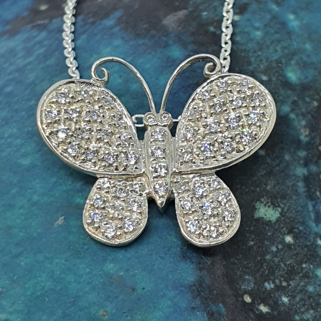 Sterling silver butterfly necklace image 0