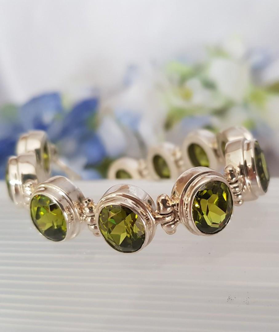 Gorgeous Sterling Silver Peridot Bracelet image 1