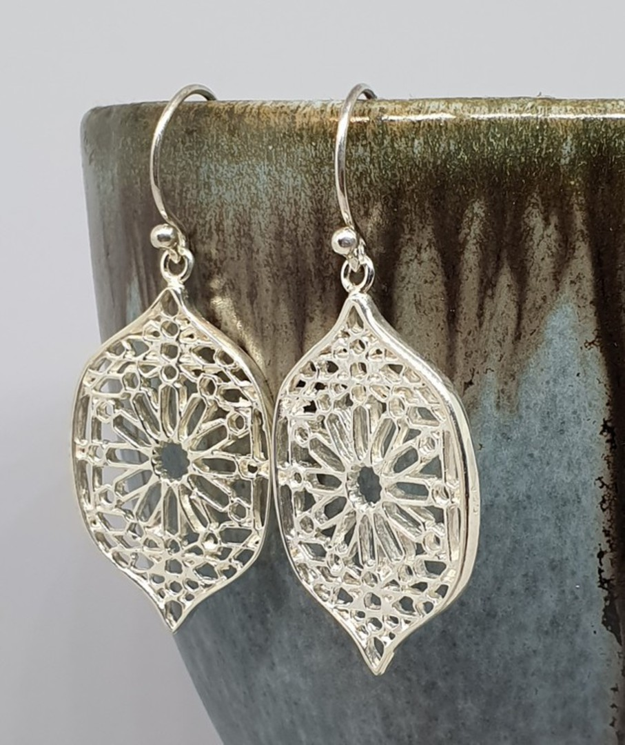 Sterling silver statement flower earrings image 1