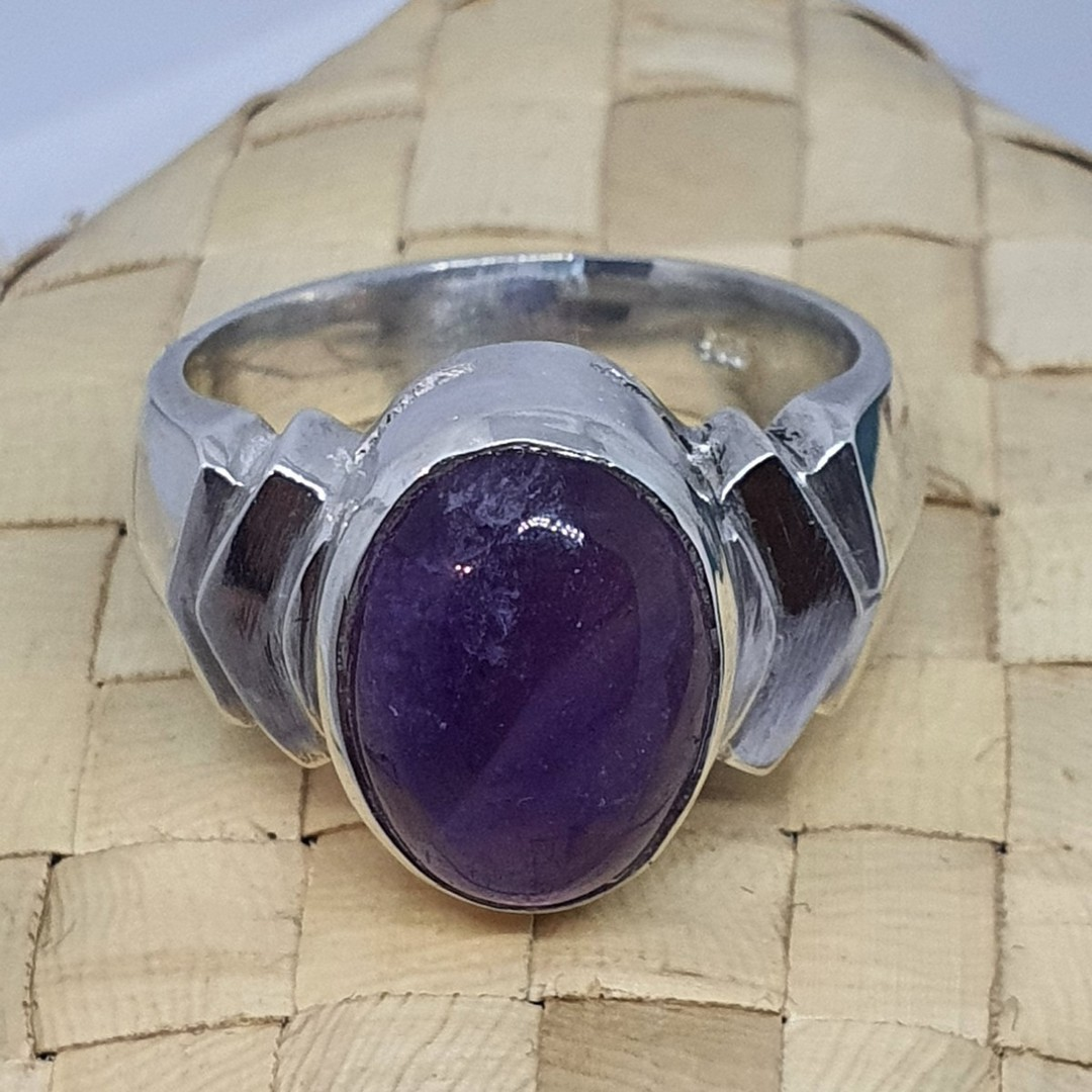 Sterling silver oval amethyst ring, made in NZ image 0