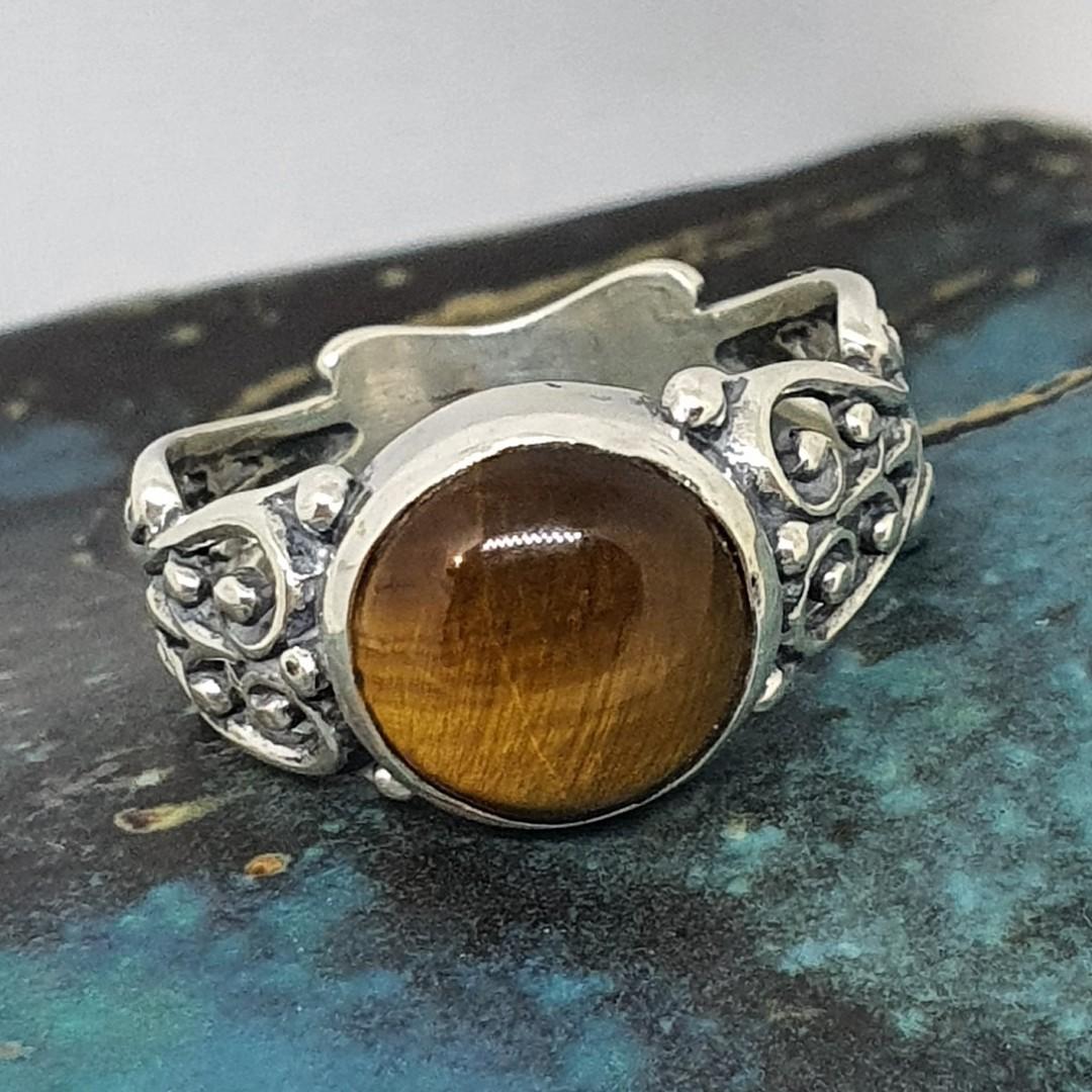 Sterling silver tigers eye gemstone ring image 2