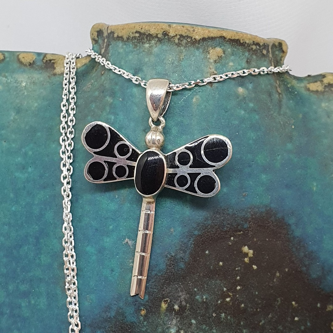 Silver dragonfly pendant with black shell inlay image 0