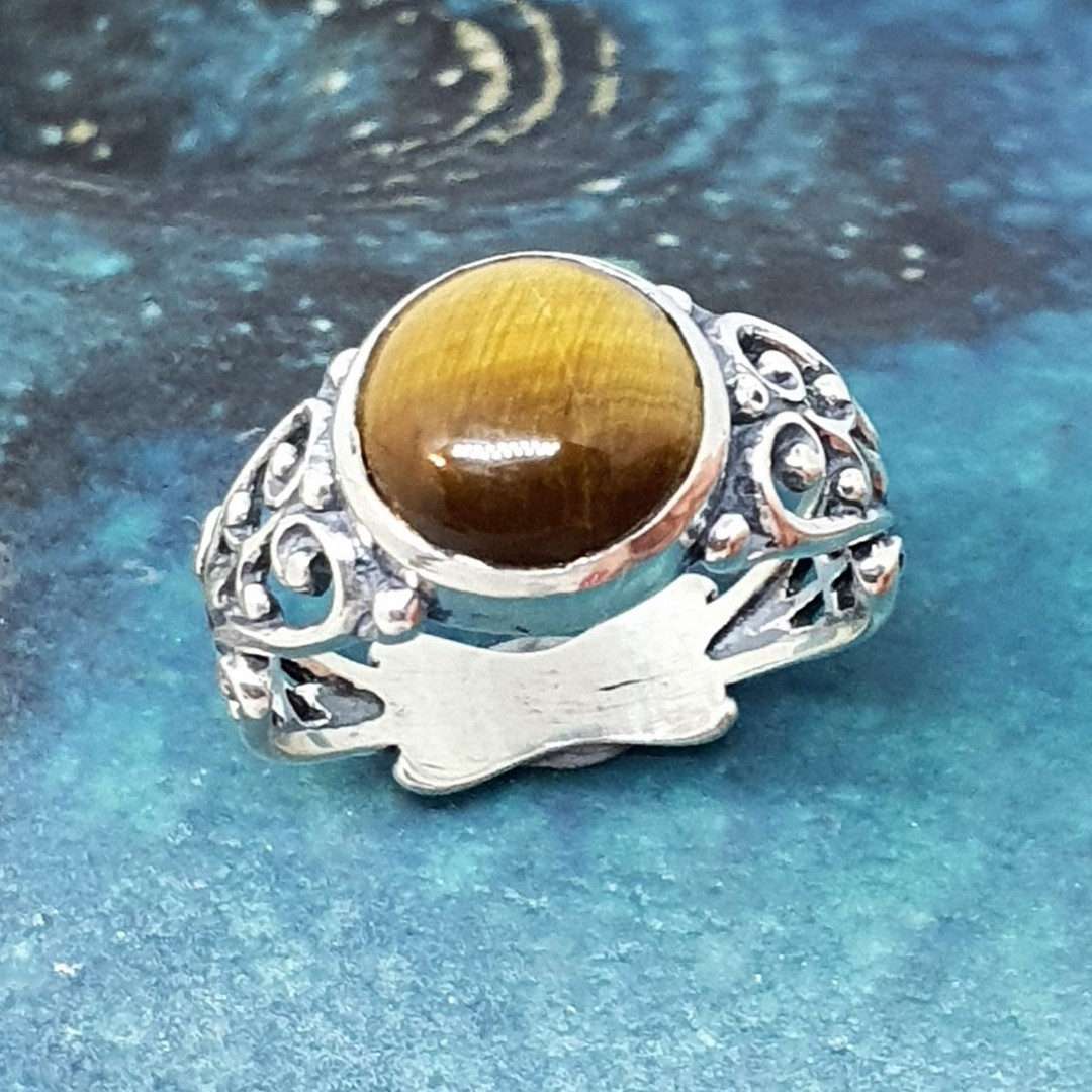 Sterling silver tigers eye gemstone ring image 0