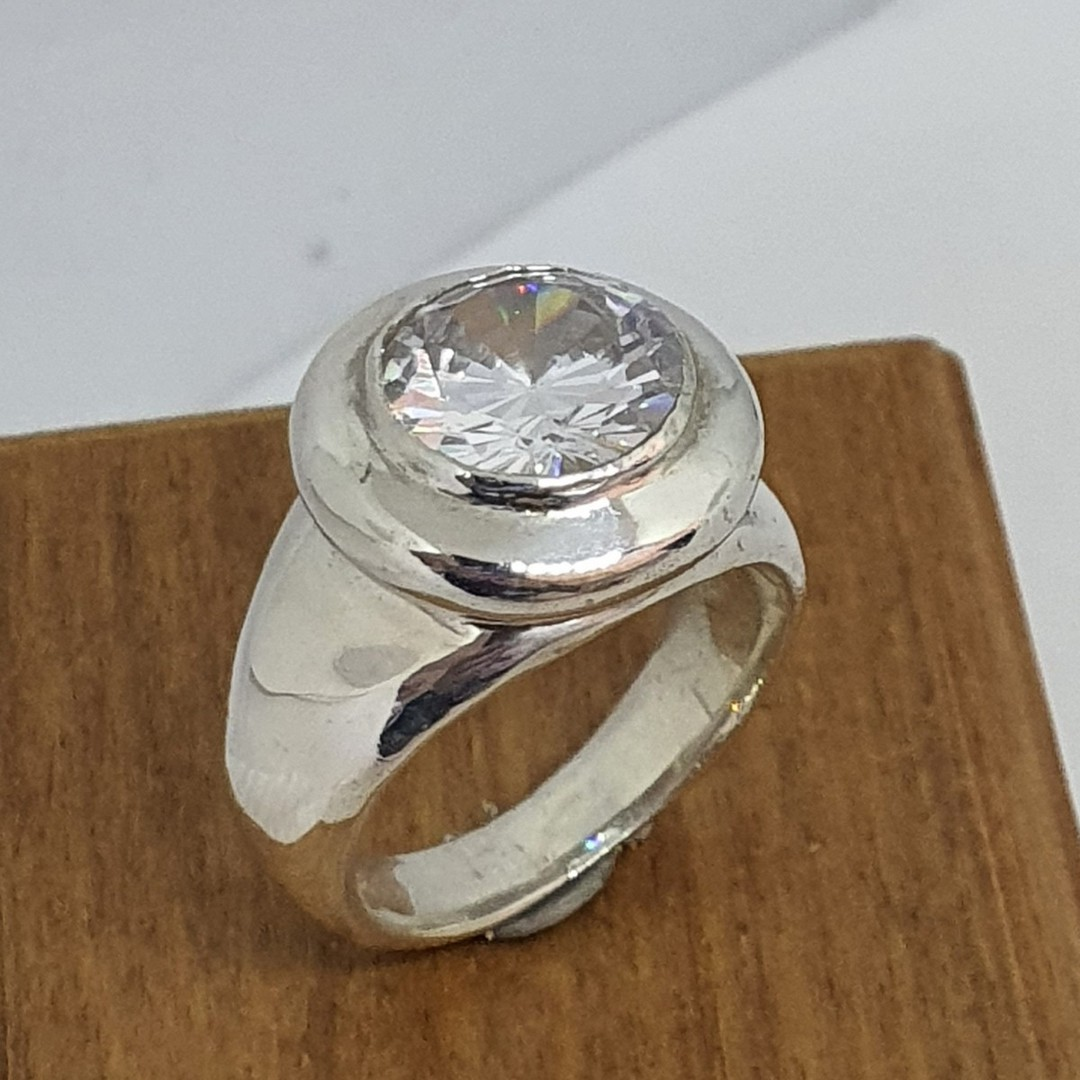Made in NZ, chunky silver cubic zirconia ring image 0