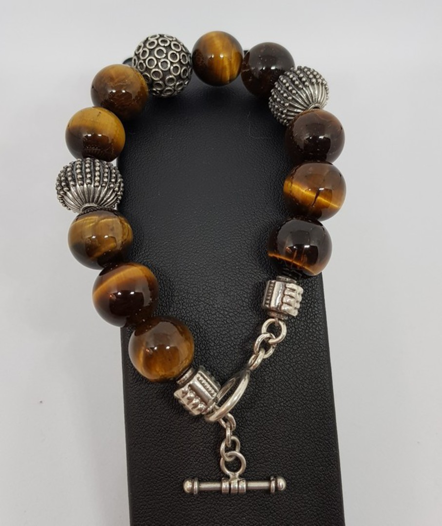 Tigers eye and silver beaded bracelet - made in NZ image 4