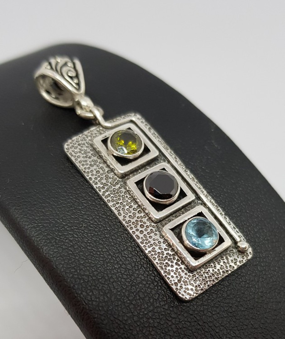 Sterling silver pendant with gemstones image 0