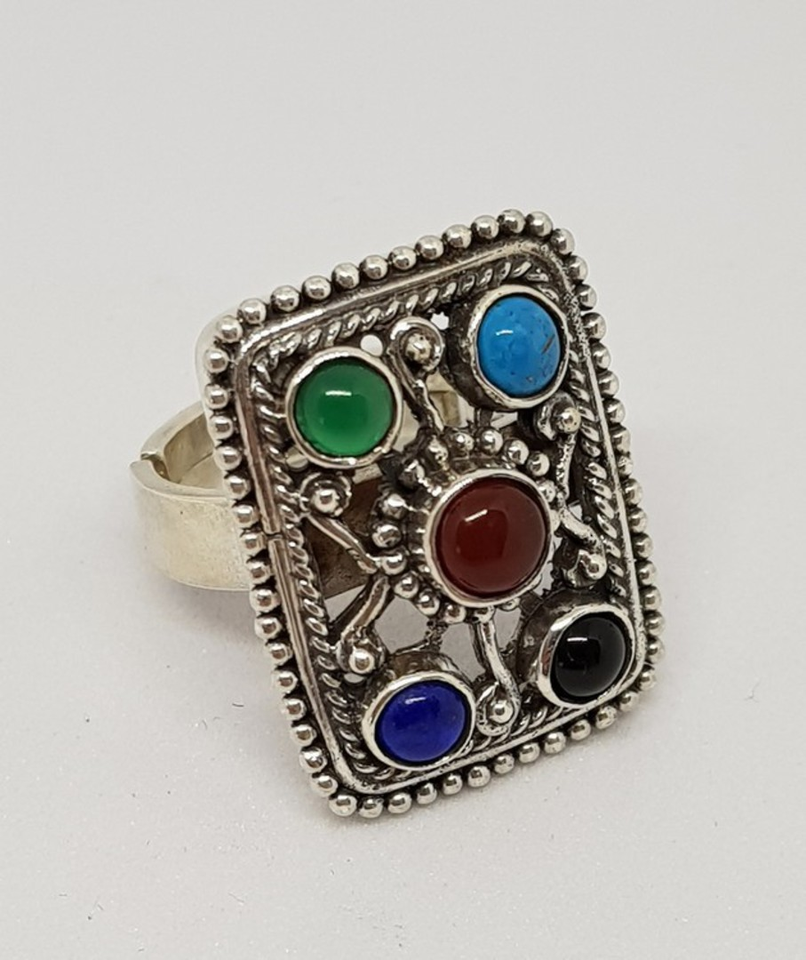 Gemstone ring with turquoise, carnelian, lapis and more image 3