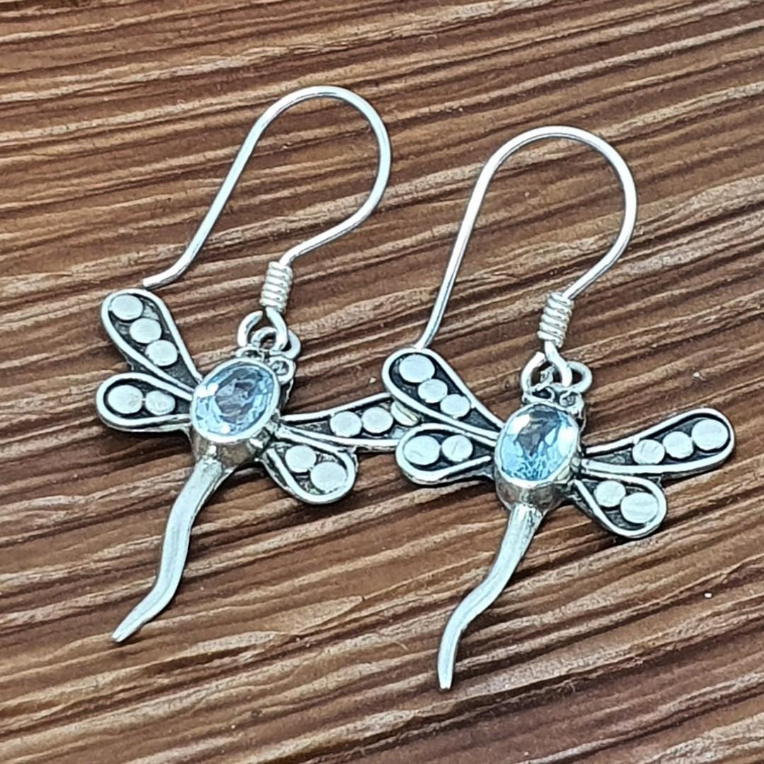 Silver blue topaz dragonfly earrings image 0