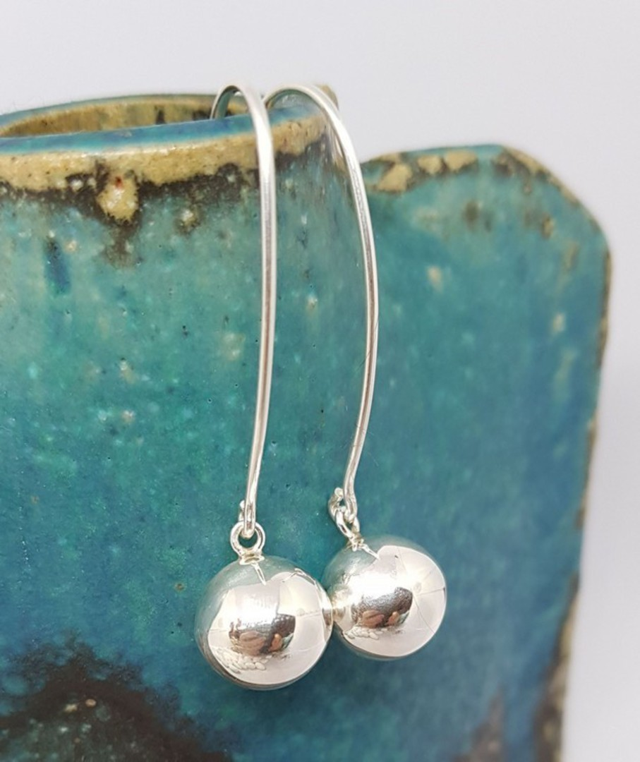 Extra long threaded silver sphere earrings - best seller! image 0