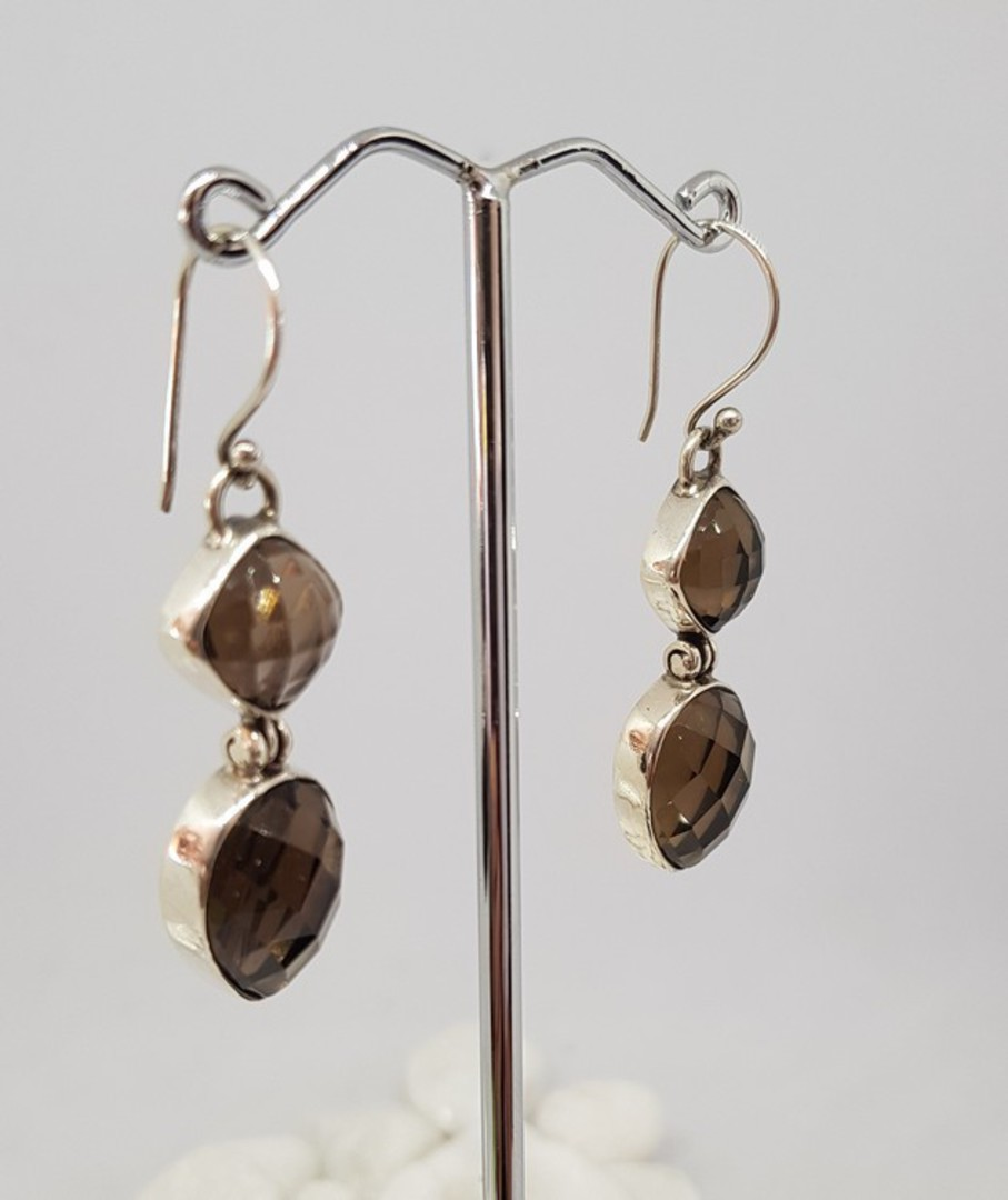 Long elegant smoky quartz silver earrings image 2