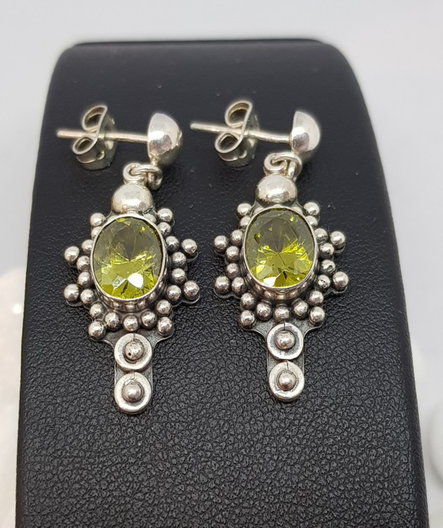 Large ornate silver peridot earrings, stud style image 2