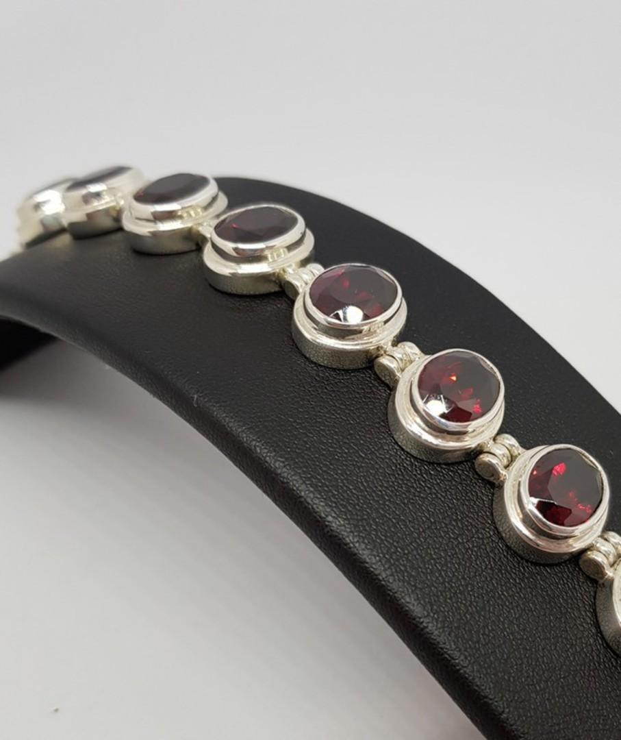 Gorgeous Sterling Silver Garnet Bracelet - now on sale image 3