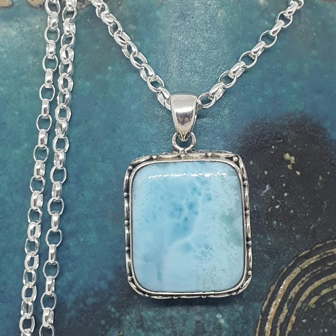 Sterling silver larimar gemstone pendant image 3