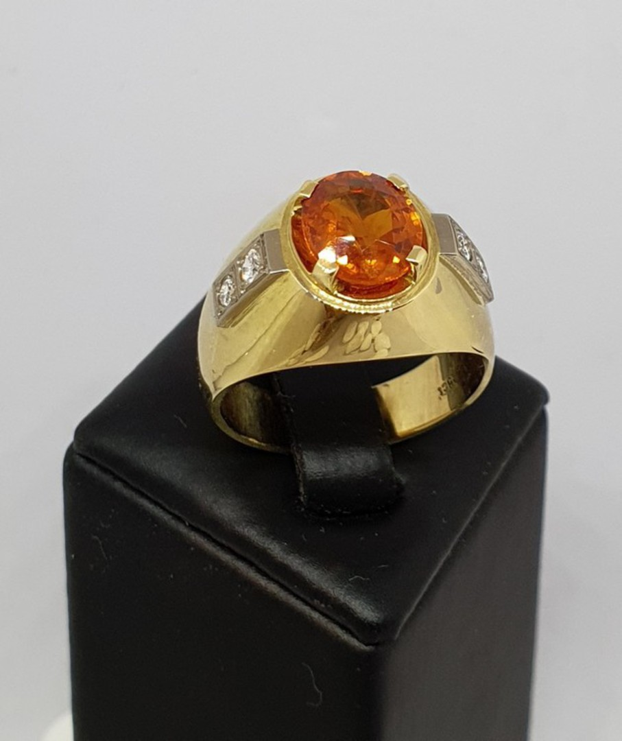 18ct yellow gold modern sapphire and diamond ring image 4