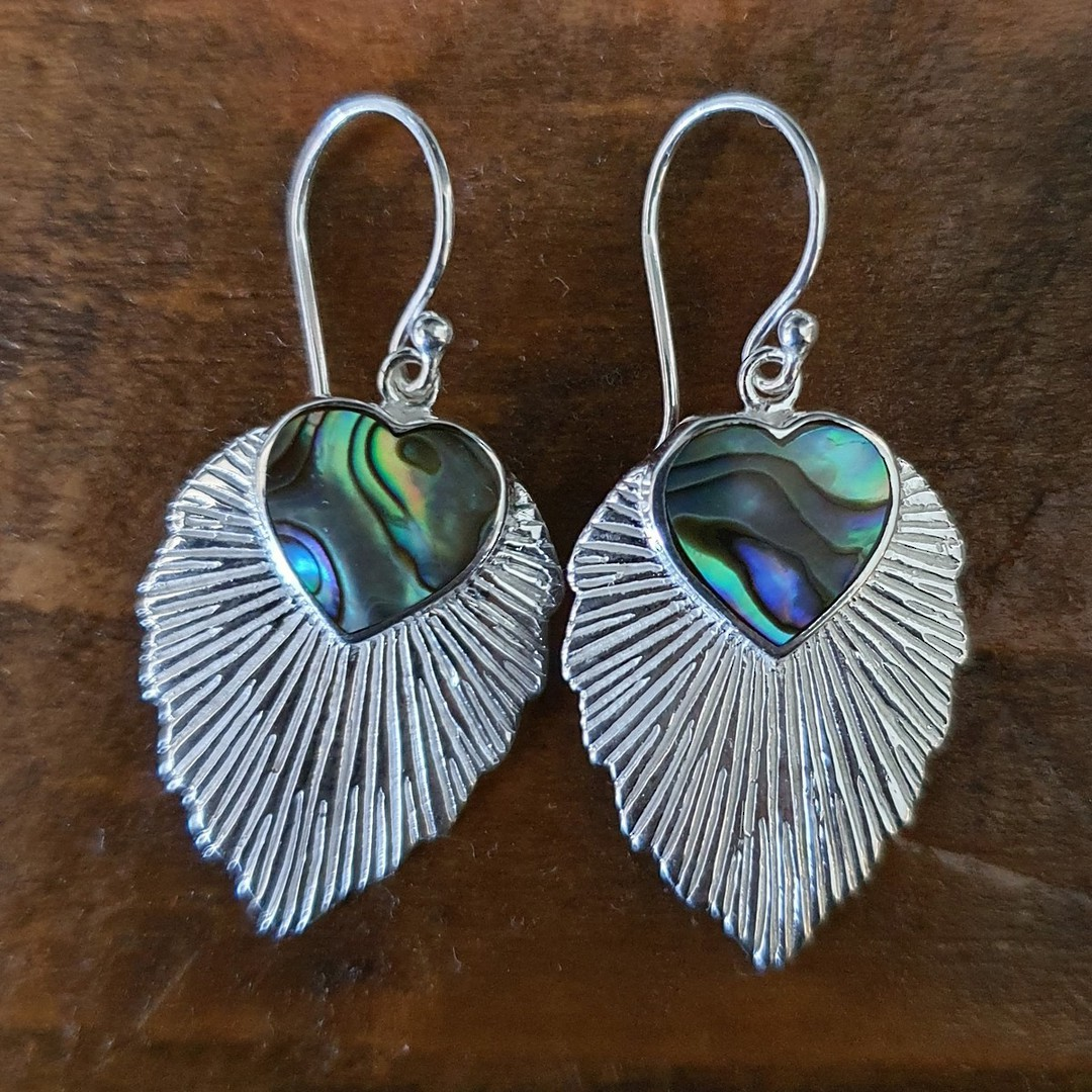 Leaf shape paua shell earrings image 3