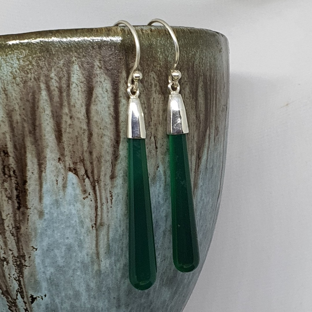 Sterling silver green agate gemstone earrings image 2