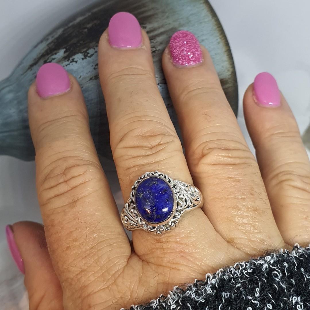 Sterling silver oval lapis lazuli gemstone ring image 2
