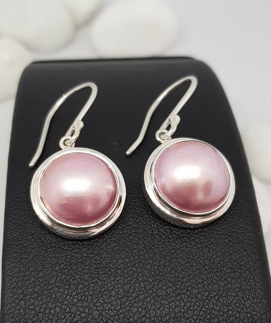 Sterling silver pink pearl hook earrings image 1