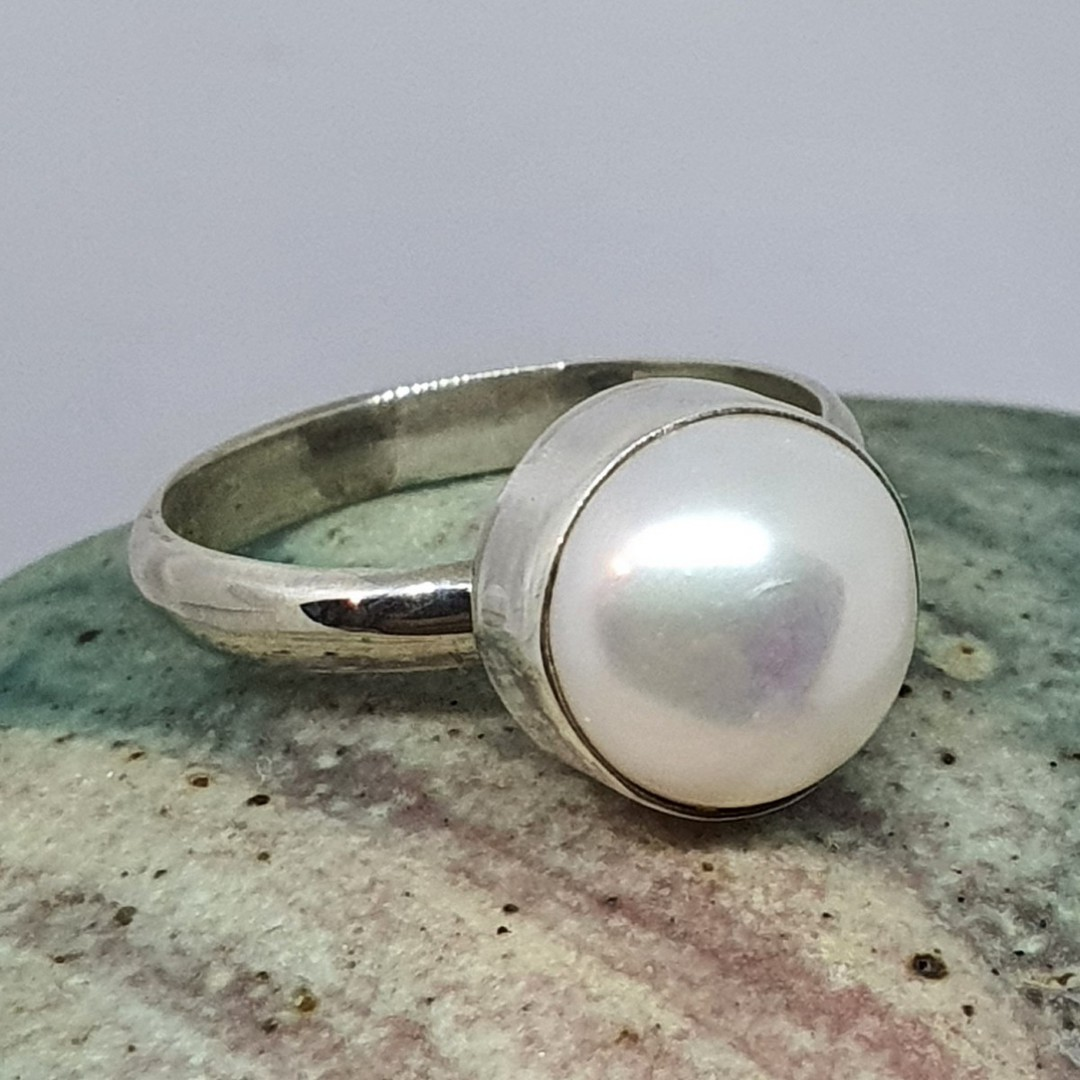 Sterling silver little pearl ring image 3