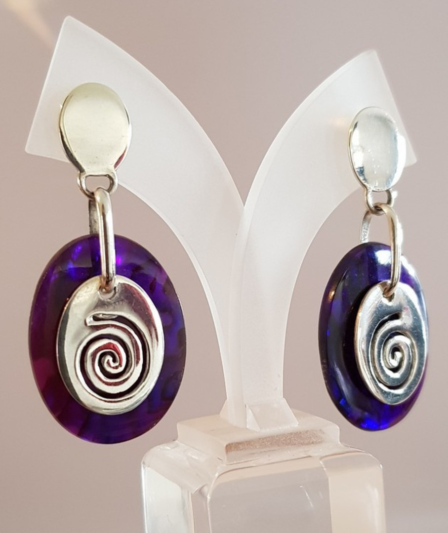Purple paua shell earrings with silver koru disc image 2