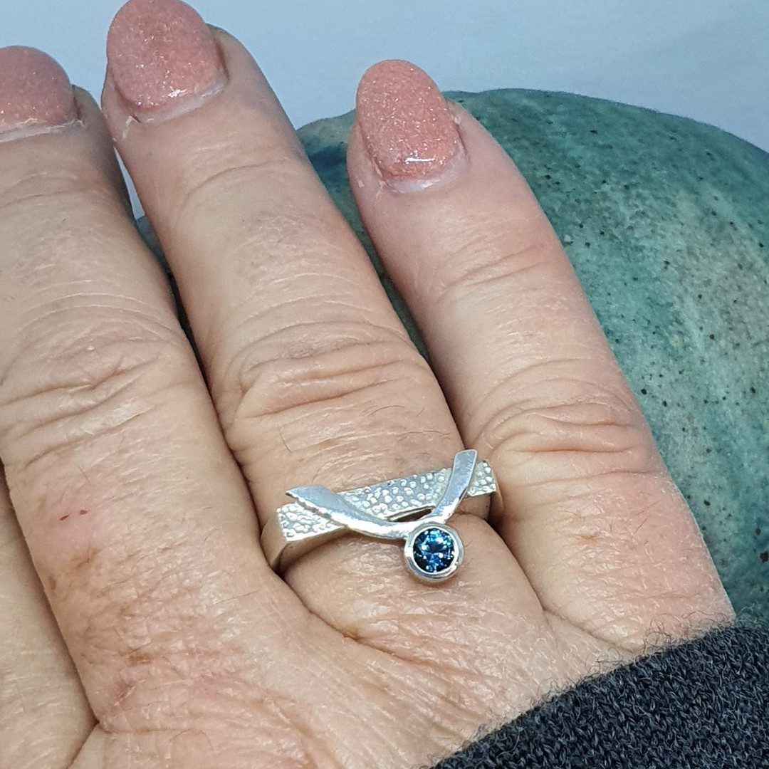 Blue topaz silver ring image 2