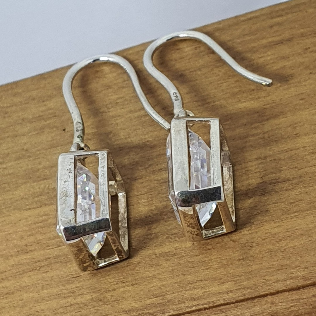Rectangle cut cubic zirconia sterling silver earrings image 3