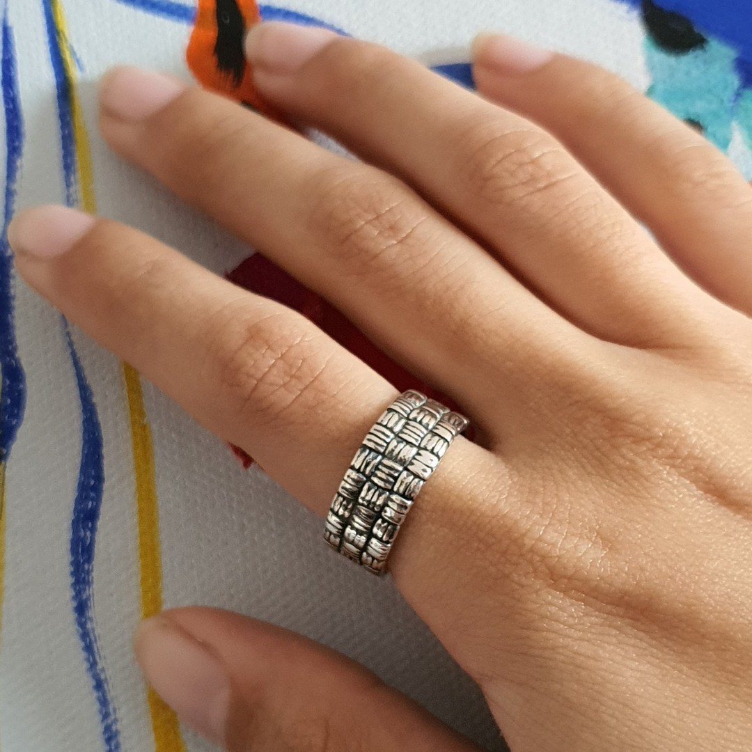 Sterling silver 8.5mm wide band ring with basket weave pattern image 1