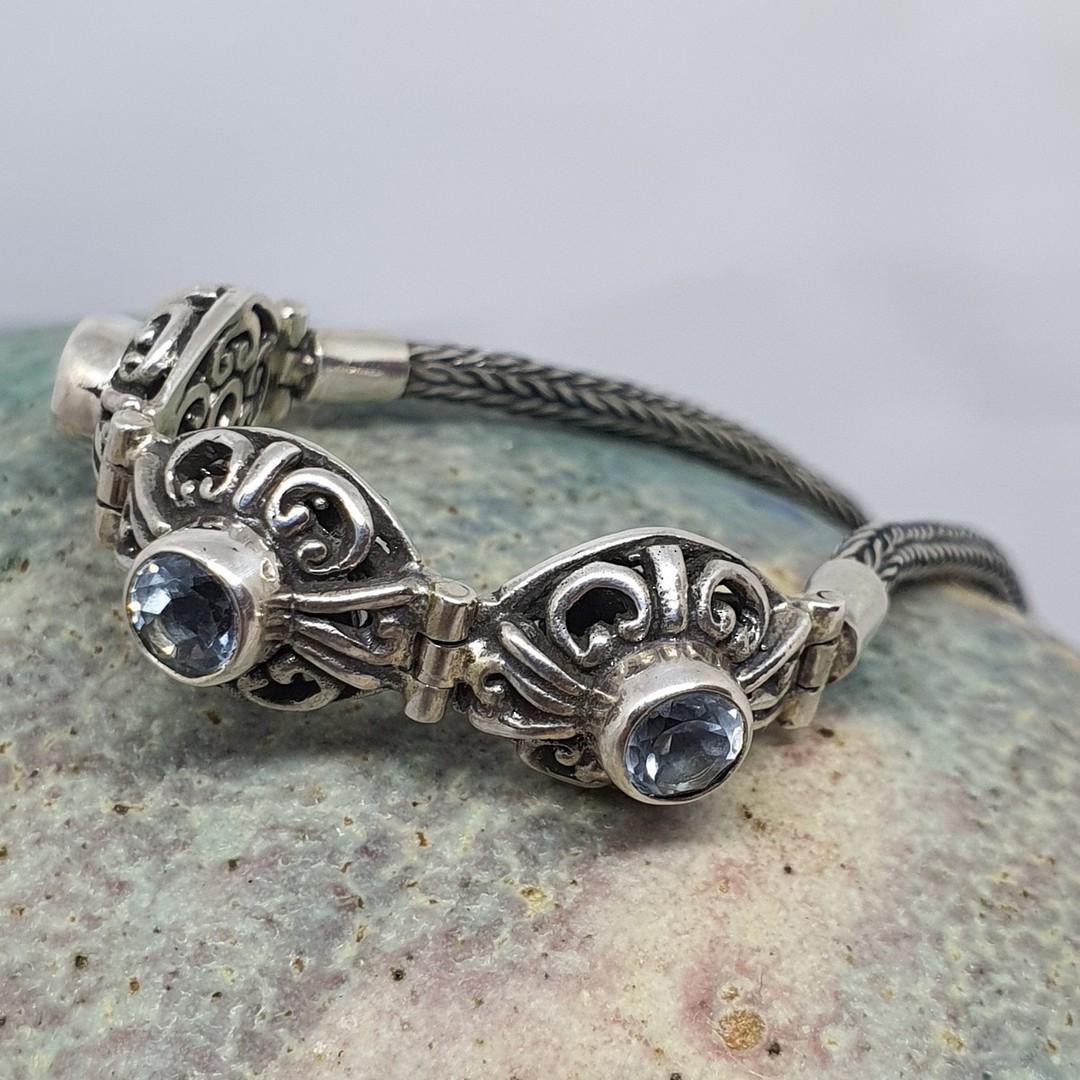 Delicate blue topaz gemstone bracelet image 1