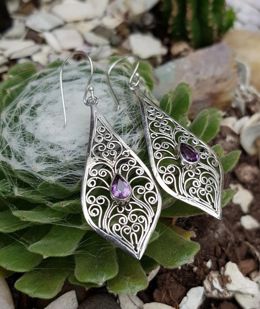Silver filigree earrings with purple gemstone image 2