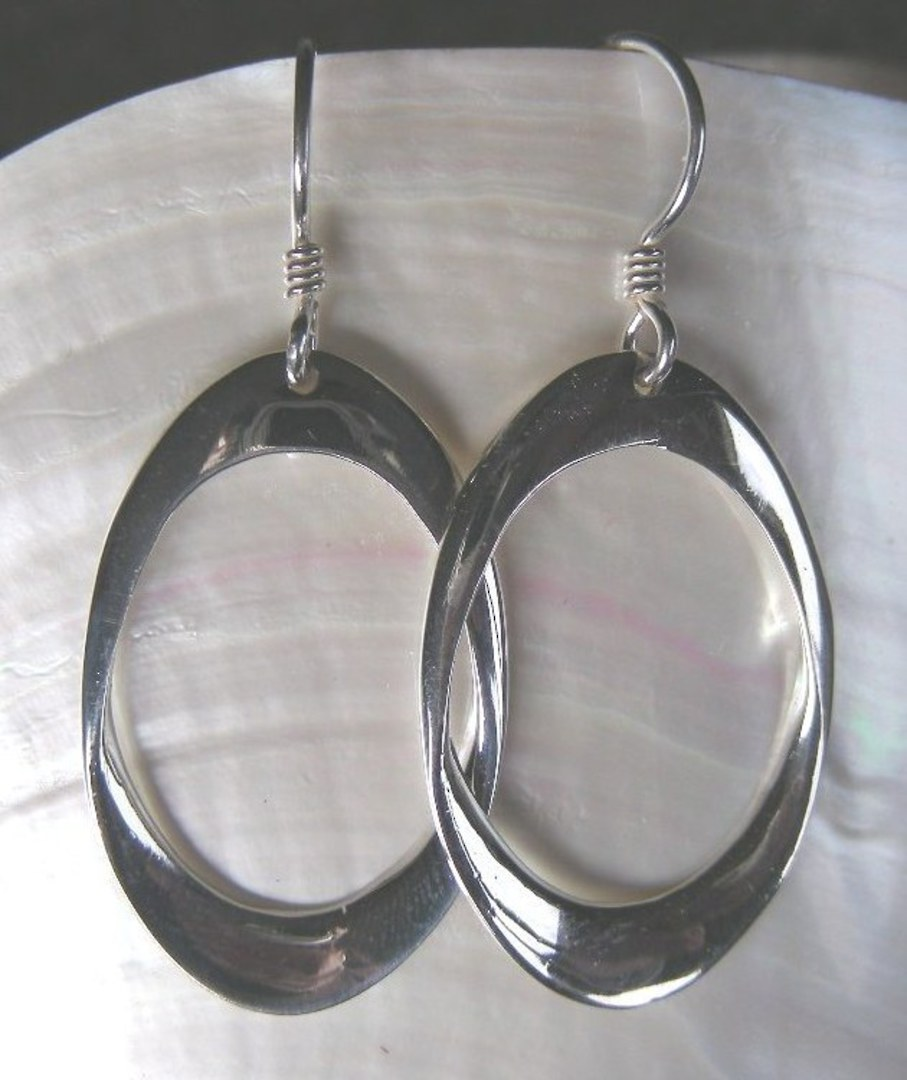 Sterling silver hooked hoop earrings image 1