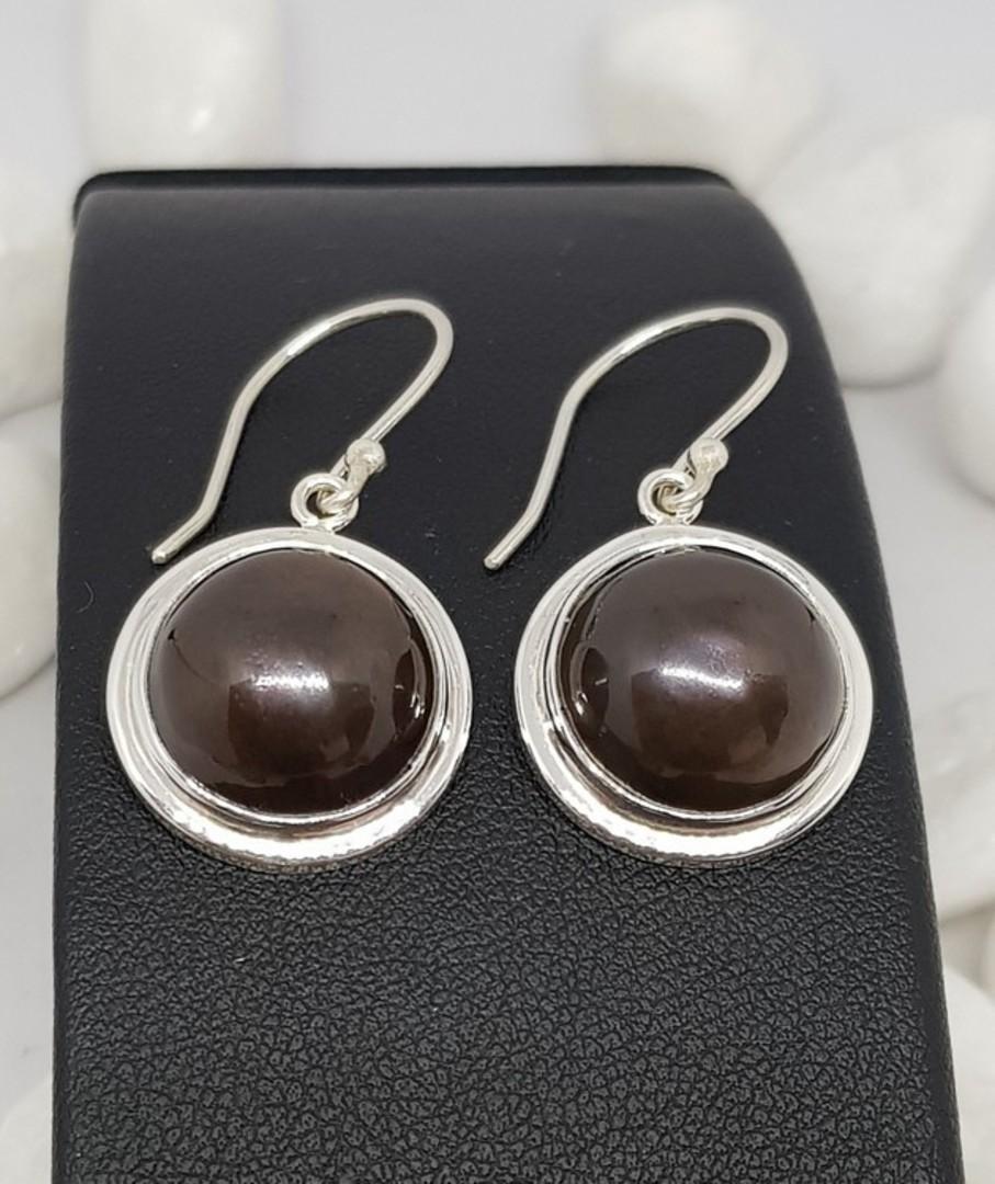 Sterling silver black pearl hook earrings image 1