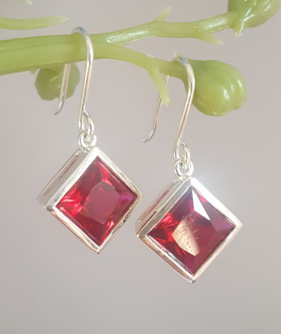 Sparkling red, princess cut synthetic ruby earrings image 2