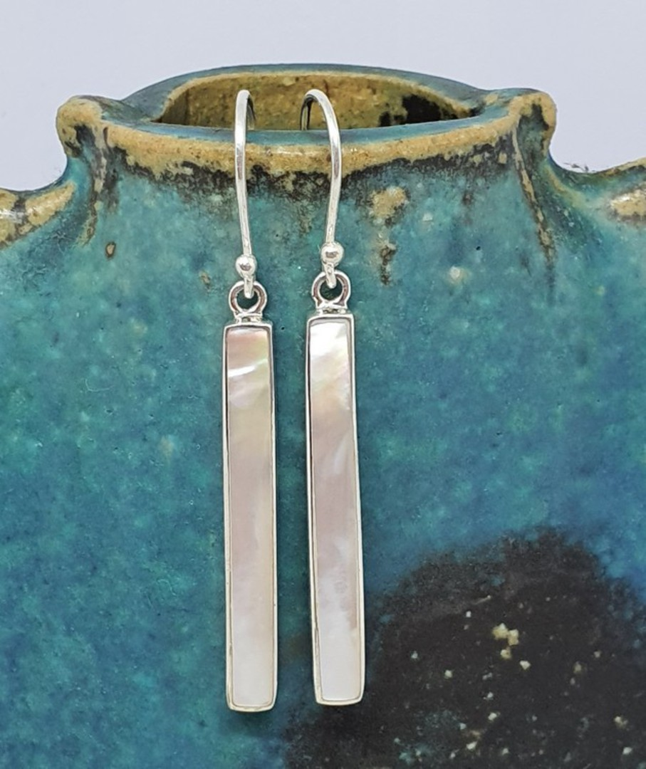 Elegant long mother of pearl earrings image 0
