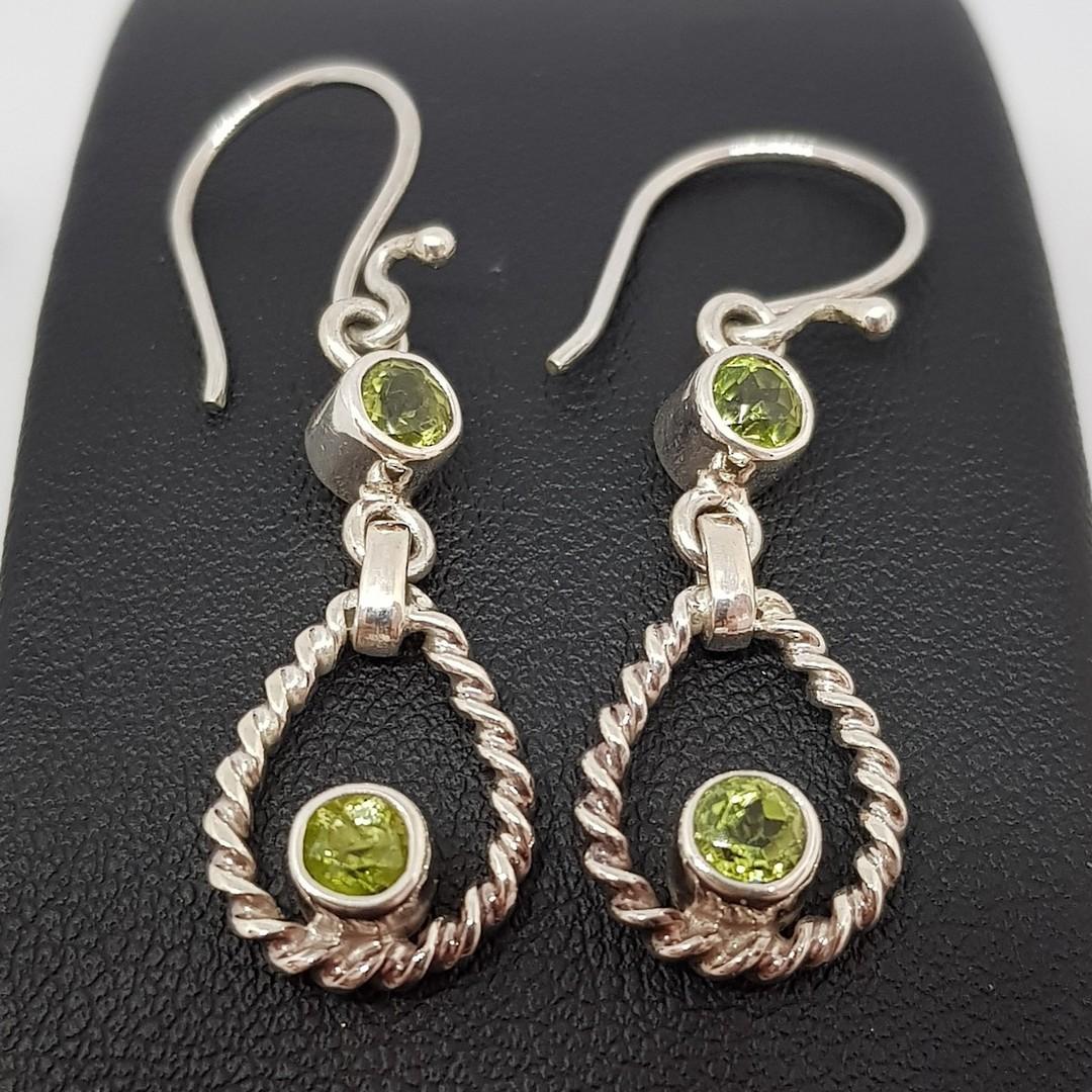 Silver peridot earrings, longer hook style image 2