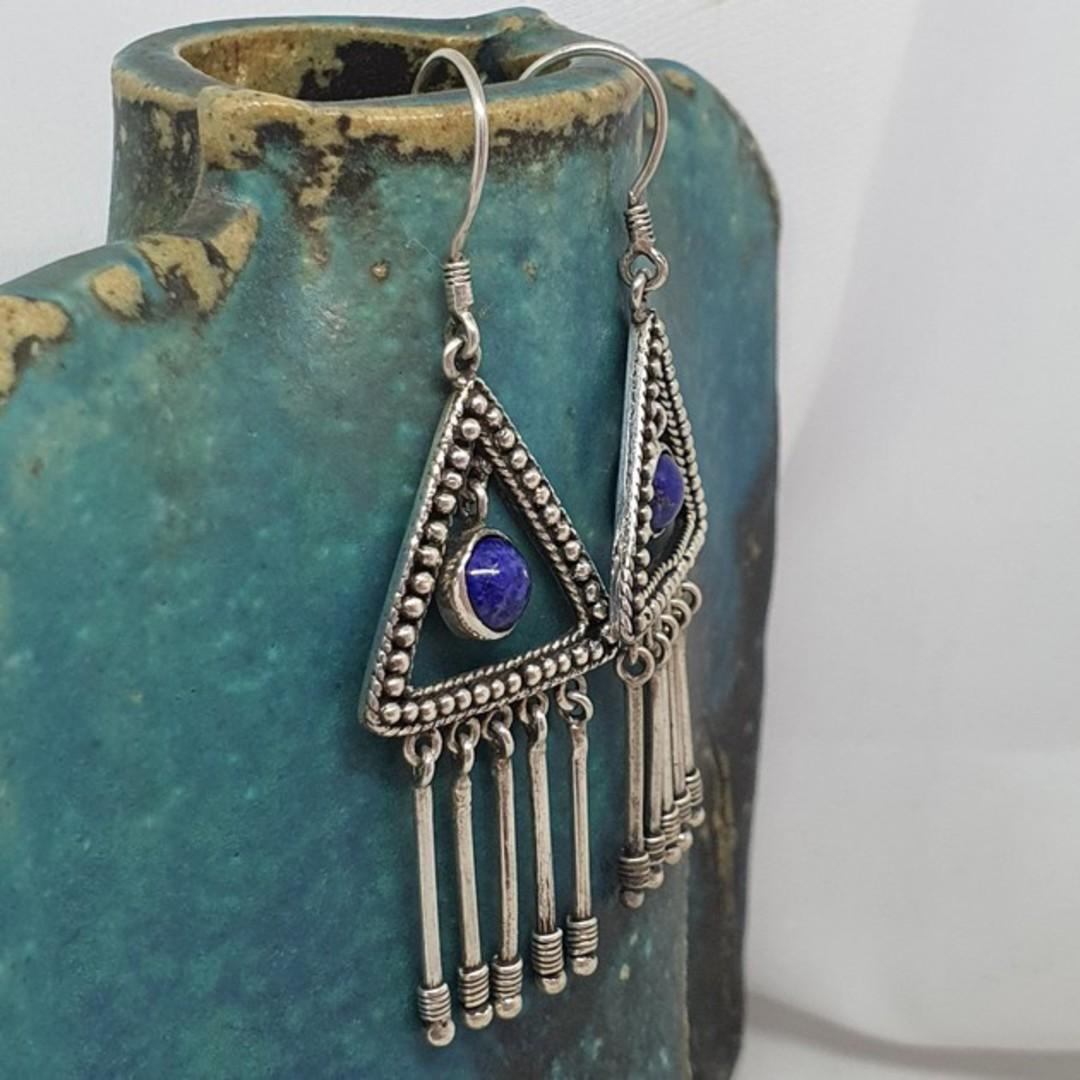 Sterling silver lapis lazuli hook earrings image 0
