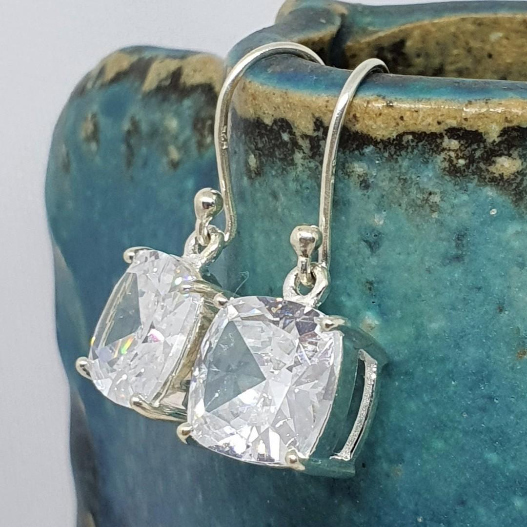 Princess cut cubic zirconia earrings image 3
