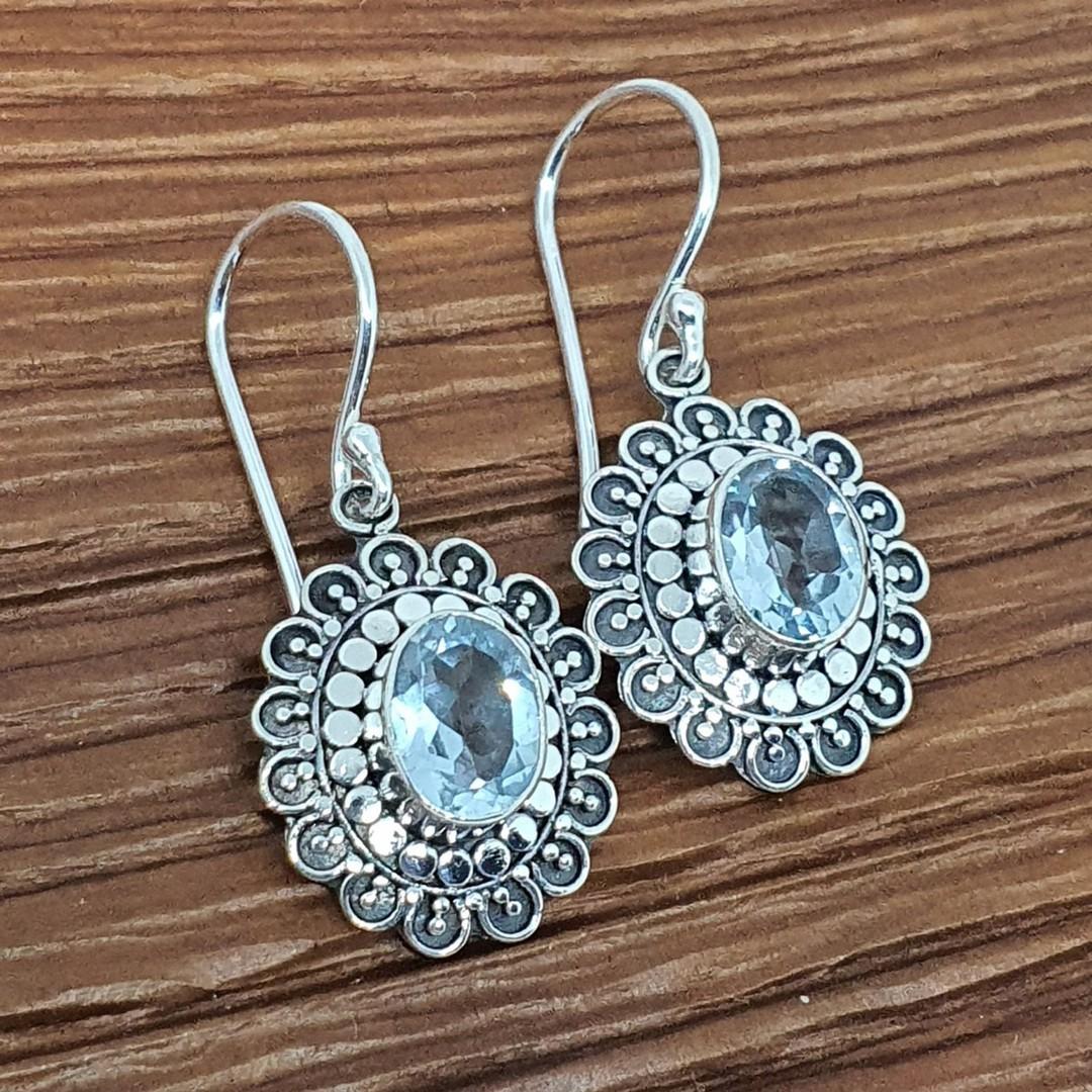 Silver blue topaz flower earrings image 0