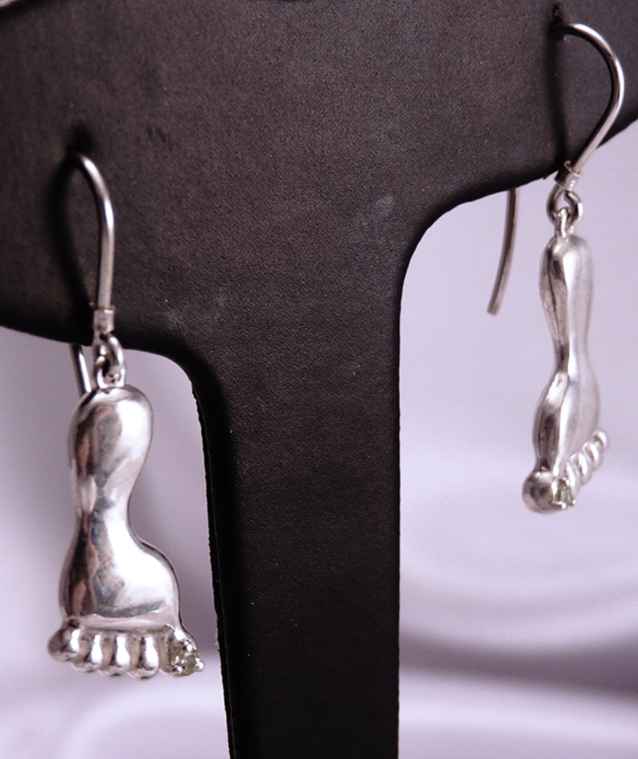 Unusual sterling silver earrings - a foot with a cubic zirconia. image 0