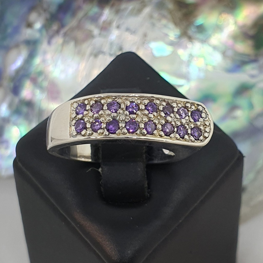 Sterling silver ring with two rows of sparkling  amethyst image 0
