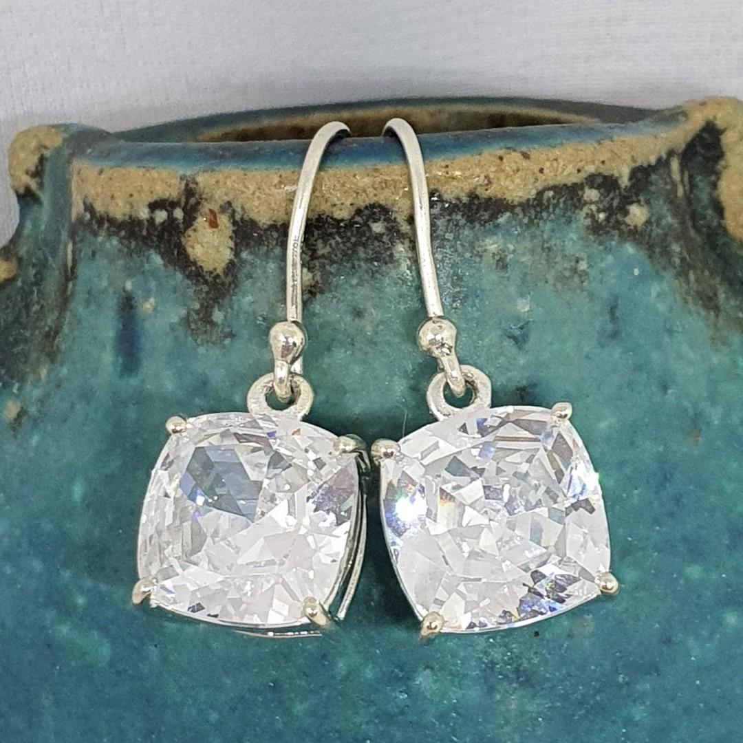 Princess cut cubic zirconia earrings image 0