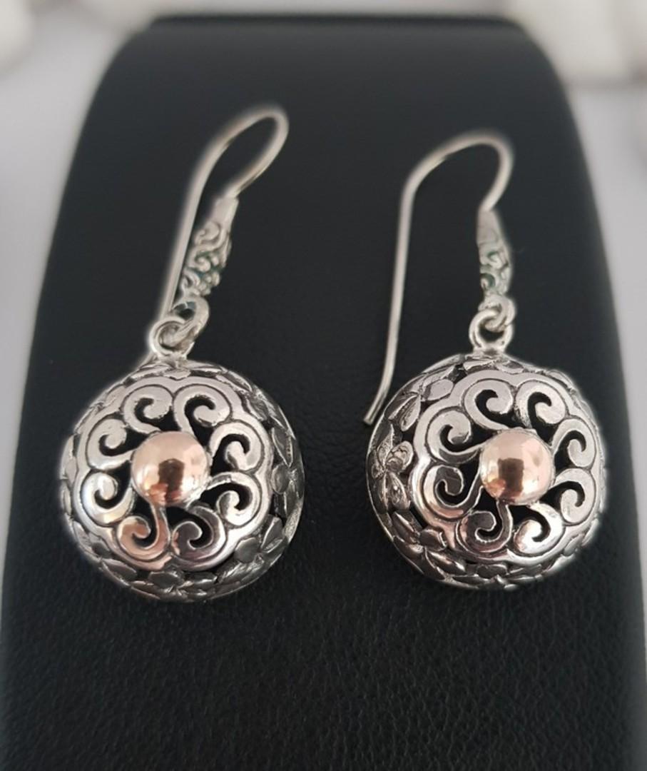Sterling silver sphere earrings image 3