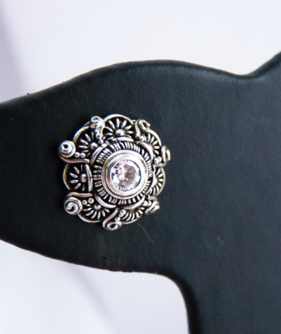 Detailed filigree cubic zirconia (c/z) stud earrings image 1