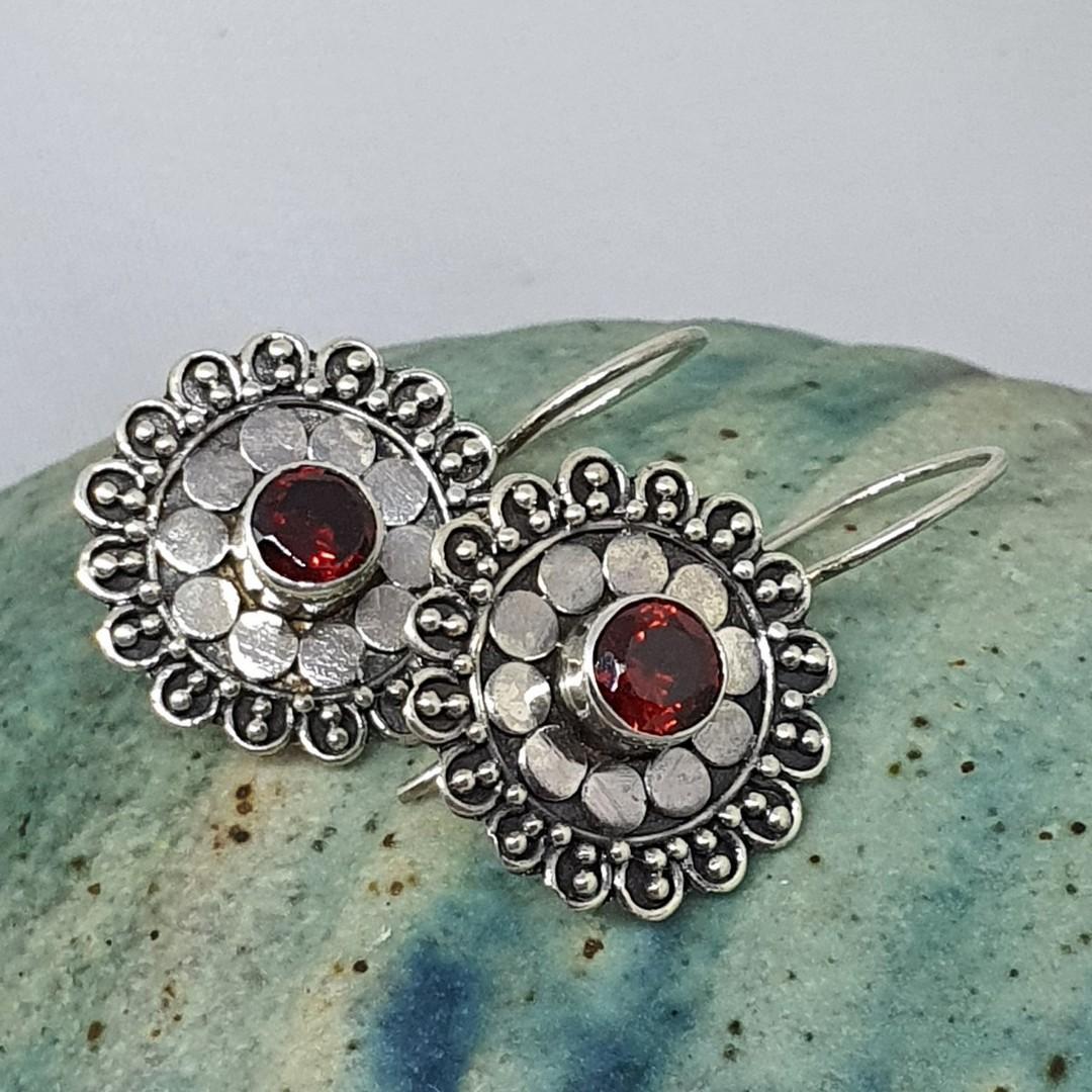 Silver red garnet flower earrings image 1