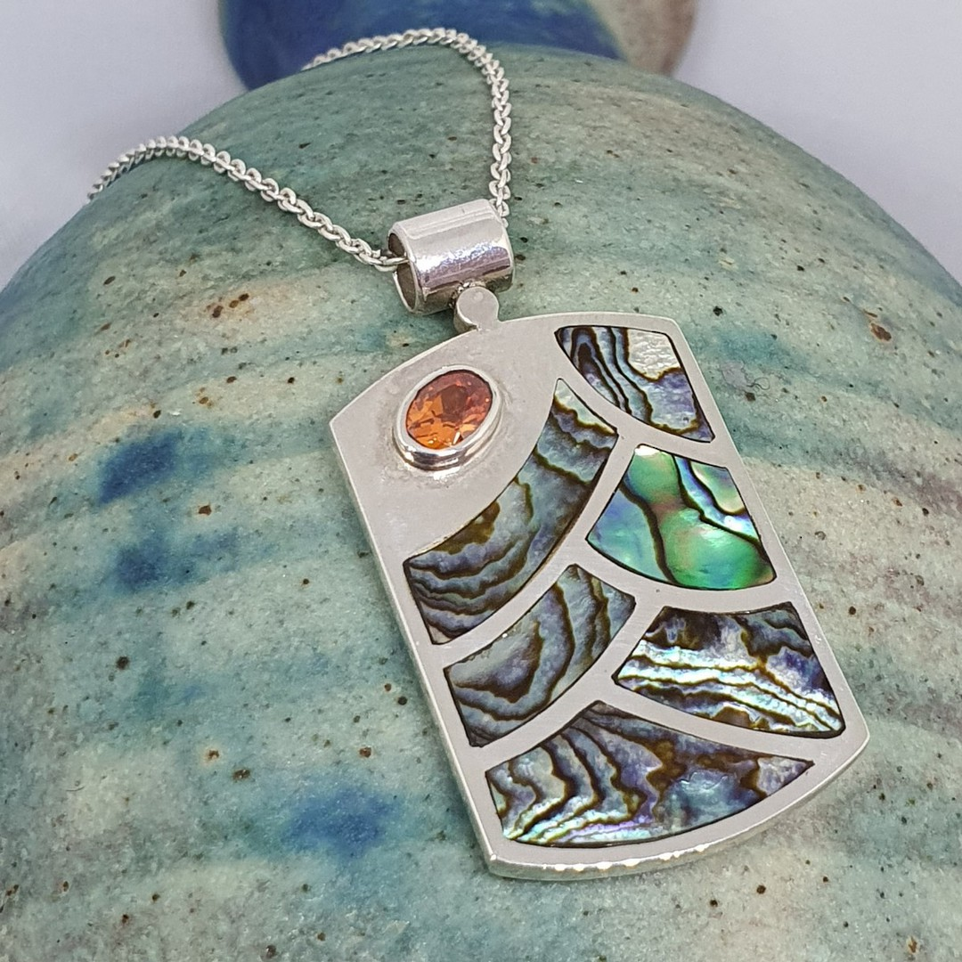 NZ paua shell pendant, sterling silver image 2
