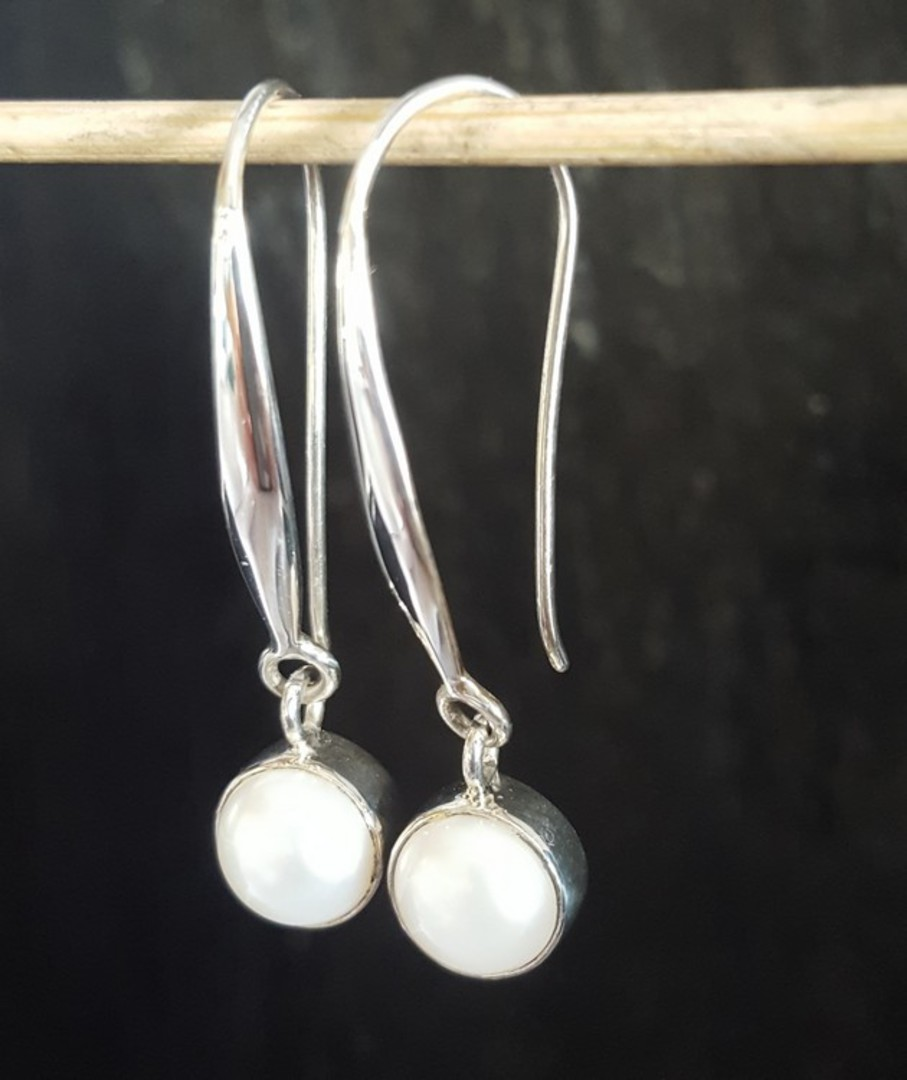 Fresh water pearl earrings, long drop, elegance + image 3