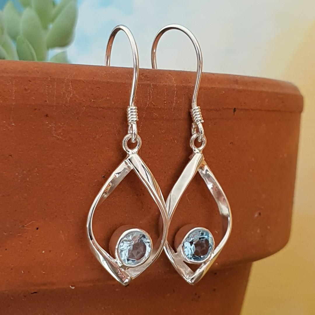 Sterling silver small blue topaz earrings image 1