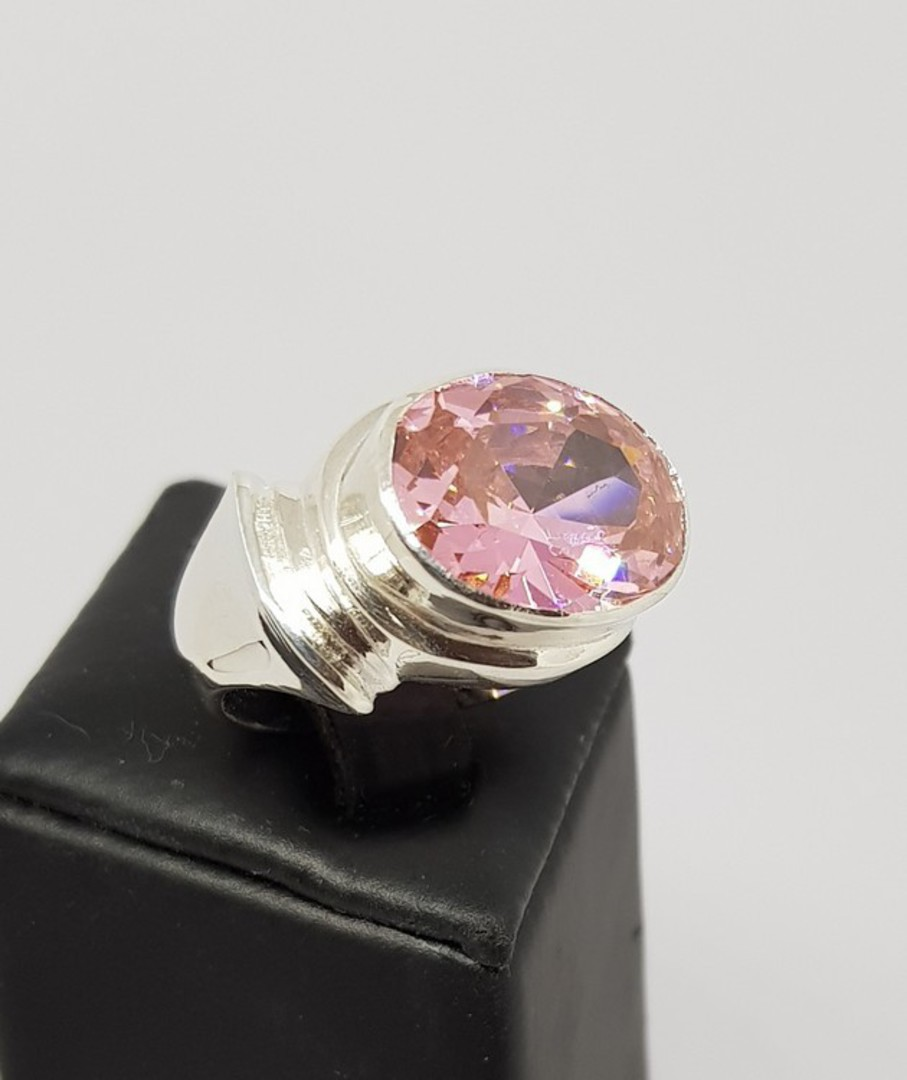 Sterling silver ring with large pink gemstone image 0