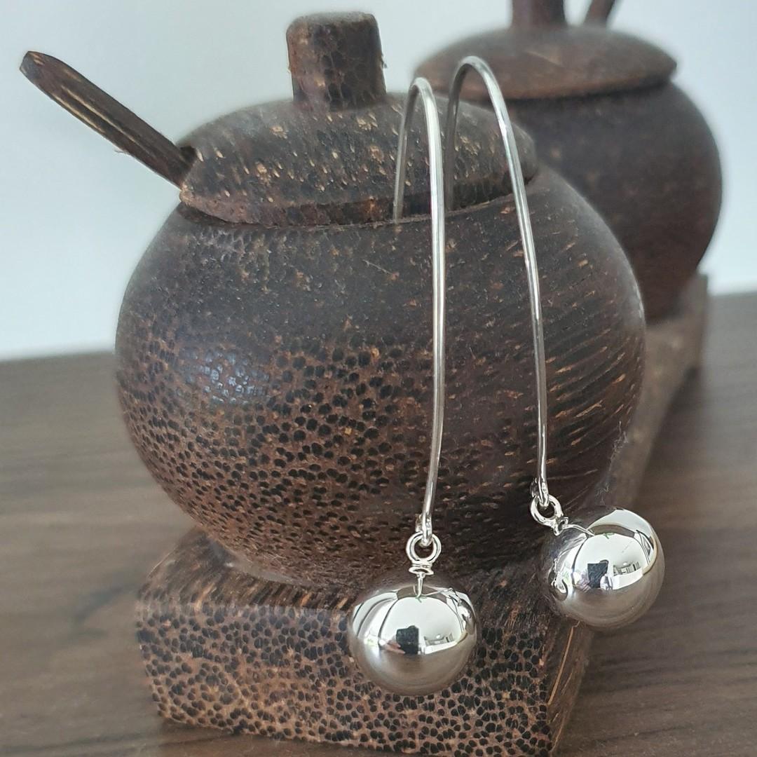 Extra long threaded silver sphere earrings - best seller! image 3