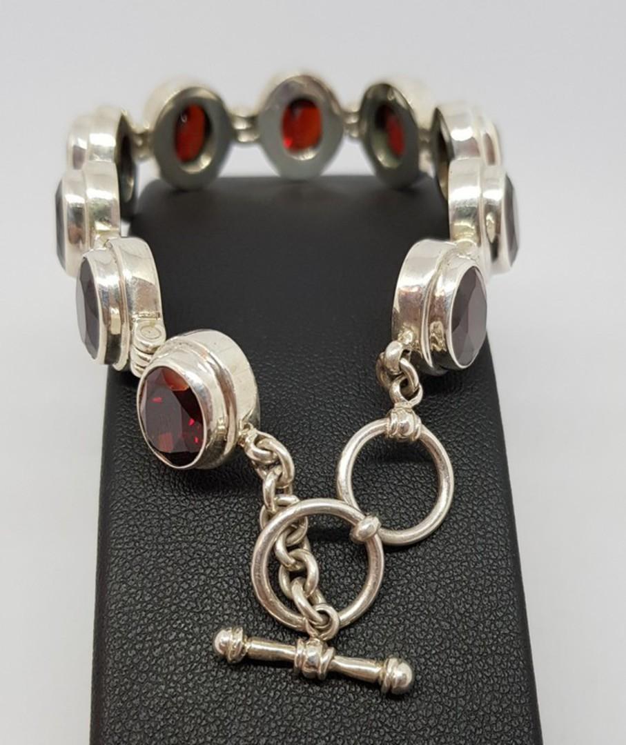 Gorgeous Sterling Silver Garnet Bracelet - now on sale image 2